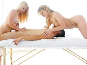 Big Dick Enjoys Hot Blondes On A Massage Table