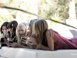 Group Striptease From These Five Girls Outdoors