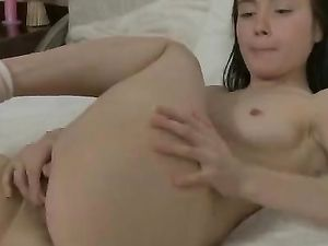 Teenager Strips Down To Her Socks And Masturbates Solo