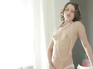 Elegant Euro Teen Uses Her Dildo To Please Her Puss