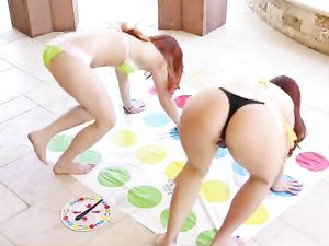 Flexible Redheads Fuck A Fat Cock Guy Together