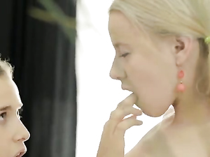 Sucking A Giant Lollipop And Eating Her Shaved Puss