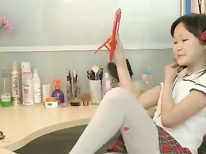 Asian Dresses Up As A Schoolgirl To Turn You On