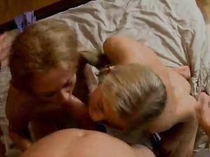 Teens Double Team His Dick In A Naughty Threesome